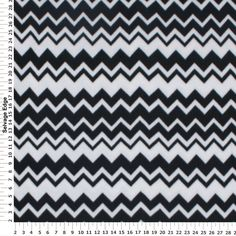 Simply Black and White Chevron Fleece Fabric