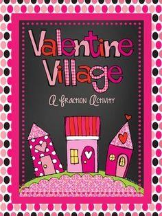 Valentine Village-FREE fraction activity!