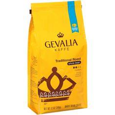 GEVALIA Traditional Roast Coffee, Mild, Whole Bean, 12 Ounce, 6 Pack