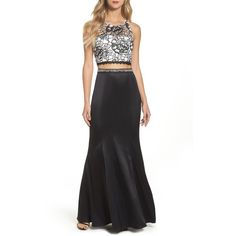 Women's Sequin Hearts Sequined Lace Two-Piece Gown (450 BRL) ❤ liked on Polyvore featuring dresses, gowns, sheath dress, sequin gown, lace ball gown, lace gown and sequin evening gowns