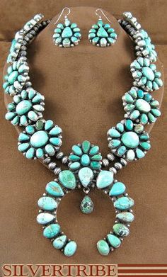 Navajo Carico Lake Turquoise set by Ella Peter. Gorgeous!