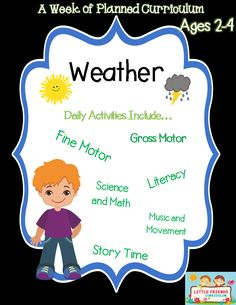 A week of preschool curriculum for ages 2-4 Weather themed. It includes a guide with instructions for each activity, any worksheets that go along with the weeks theme. Activities for each day that goes along with the theme include a suggested reading book, music and movement with words for each song, fine motor activity, gross motor activity, literacy activity, and either math or science activities