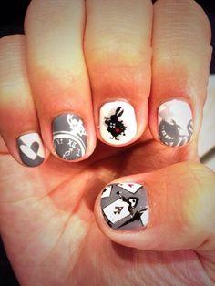 Alice in wonderland Character nail art