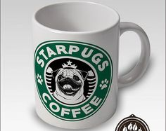 Boston Terrier Coffee Mug Starbucks Style Free por CanineCoffeeCo