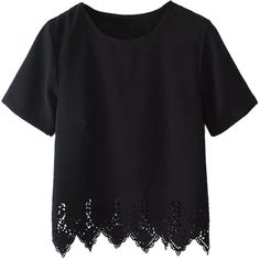Choies Black Asymmetric Short Sleeve T-shirt (16 CAD) ❤ liked on Polyvore featuring tops, t-shirts, shirts, black, tee-shirt, short sleeve tops, short sleeve tee, shirt top and short sleeve t shirt