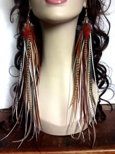 Long Thick Handmade Feather Earrings - Firey Brown Goddess feather jewelry - extra long natural feather extension earings Sale
