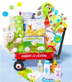 Baby Einstein Lullaby Wagon-Baby Einstein is a brand loved my parents. This super cute lullaby themed Radio Flyer wagon is filled with Baby Einstein products for the new baby. A classical lullaby CD will help mom and dad with bed time. A Baby Einstei Baby Shower Gift Basket, Baby Gift Box, Baby Baskets, Gift Baskets, Shower Gifts, Raffle Baskets, Shower Party, Easter Baskets, Unique Baby Gifts