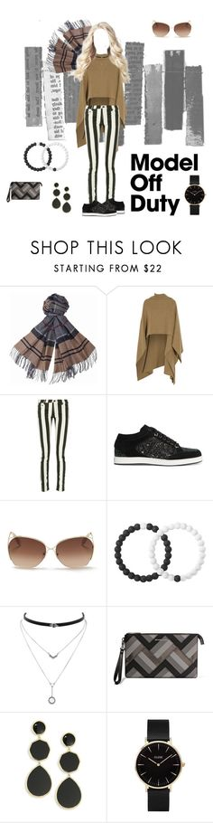 """""""Feet Flat On the Ground"""" by eyothere ❤ liked on Polyvore featuring Barbour, Madeleine Thompson, Off-White, Jimmy Choo, Victoria Beckham, Lokai, Jessica Simpson, MICHAEL Michael Kors, Ippolita and CLUSE"""