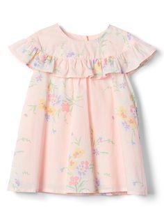 Gap Baby Floral Ruffle Dress Pink Cameo