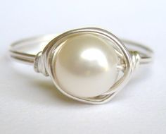 so pretty...CLASSIC medium white freshwater pearl sterling silver wire wrap wrapped ring $20.00