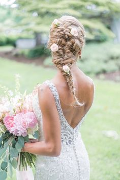 Gorgeous bridal hair with flowers