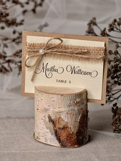 Rustic Place Card Holder with Place Card Birch by 4LOVEPolkaDots