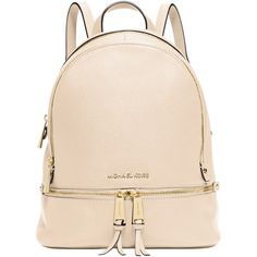 MICHAEL Michael Kors Rea Zip Small Leather Backpack (226.405 CRC) ❤ liked on Polyvore featuring bags, backpacks, ecru, pink backpack, leather knapsack, real leather backpack, shoulder strap backpack and pink leather backpack