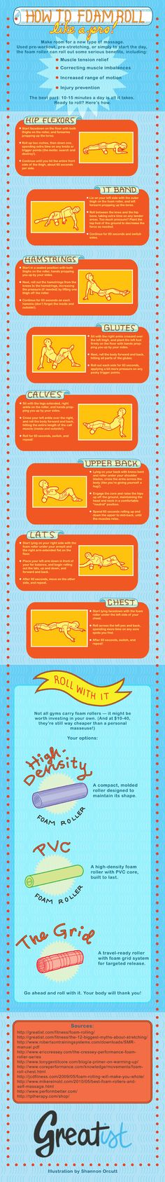 Want to improve flexibility, performance, and reduce injuries? Get to know the foam roller! This infographic covers all the essential moves to rock (n' roll) that next workout. I love mine :)
