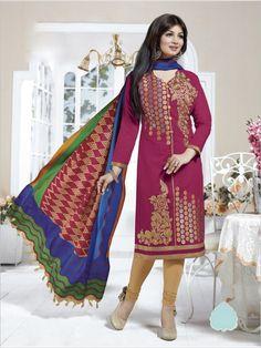 Magenta Formal Chanderi Suit