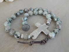 """Bohemian Luxe Chic Semi Precious Stone 19"""" Rosary Sideways Rustic Cross Necklace, Religious Holiday Gift"""