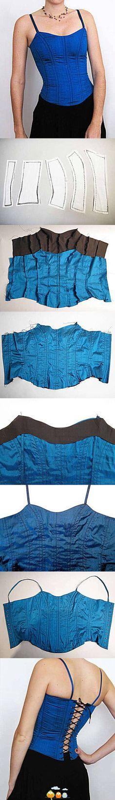 DIY Stylish Crop Top Tank tops are very popular these days. Diy Clothing, Sewing Clothes, Clothing Patterns, Sewing Patterns, Sewing Hacks, Sewing Tutorials, Diy Corset, Corset Shirt, Diy Vetement