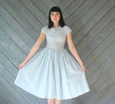 palest icy blue 1950s party dress   #vintage #prom #dress #retro