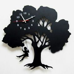 This tree clock' design Inspired by a tree, this tree clock is full of art taste. The tree clock is designed in the shape of a tree, on which a girl is . Tree Clock Where Childhood Memory Gets Inspired Unusual Clocks, Cool Clocks, Unique Wall Clocks, Large Wall Clocks, Wall Clock Gift, Diy Clock, Clock Ideas, Vynil, Record Crafts