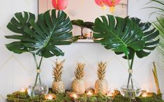 We can't get over how cute this party theme is. Southern Hospitality meets NYC Possibility came alive in spray painted pineapples, pink paper lanterns and Justin's incredible taste. See the details in the slideshow. Tropical Party Decorations, Tropical Decor, Tropical Interior, Pineapple Party Decor, Luau Table Decorations, Tropical Party Foods, Tropical Centerpieces, Havanna Party, Flamingo Party