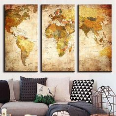 Vintage map with countries on canvas pinterest office walls 3 panel modern oil painting world map wall picture unframed canvas home decor gumiabroncs Gallery