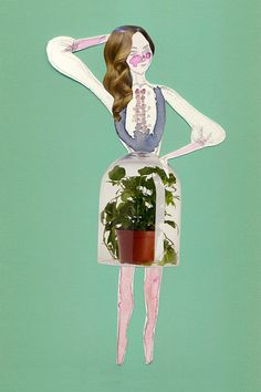 """""""Miss Potty"""" Limited edition print of hand-cut collage and watercolor. www.elizabethcroft.net"""