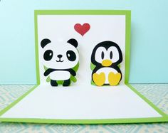 Panda and Penguin In Love Pop Up Card by CookieBits on Etsy Penguin World, Bubble Mix, Tarjetas Pop Up, Bubble Bobble, Penguin Love, Panda Love, Love Stamps, Gifts For Photographers, Pop Up Cards