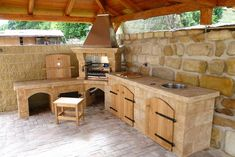is that a wood grill-rotisserie combo? And, a compost hole? Backyard Kitchen, Summer Kitchen, Outdoor Kitchen Design, Backyard Bbq, Parrilla Exterior, Wood Grill, Backyard Fireplace, Wood Fired Oven, Backyard Retreat