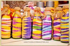 Salt+colorants+bottles+imagination=Cute home decor!