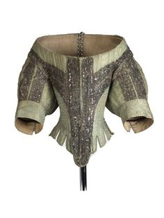 A woman's bodice made from green silk; c 1660, Unknown