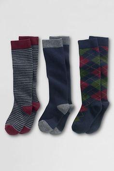 School Uniform Girls' Pattern Knee Socks (3-pack) from Lands' End