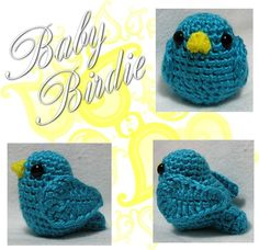 Amigurumi Baby Birdie - Tutorial. The original pin didn't go anywhere so I searched out and found the pattern here: http://www.marloscrochetcorner.com/birds.html for the bird body and the wings are here: http://craftypants.wordpres...