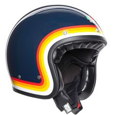 Retro Styles The AGV Helmet refreshes of a truly iconic piece of motorcycle history. - The AGV Helmet refreshes of a truly iconic piece of motorcycle history. Open Face Motorcycle Helmets, Motorcycle Equipment, Open Face Helmets, Motorcycle Design, Women Motorcycle, Enduro Motorcycle, Retro Helmet, Vintage Helmet, Agv Helmets