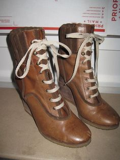 10294355f4 Chloe Lace Up Leather Wedge Military Bootie Ribbed Knit Cuff Brown Size 38  $850