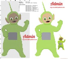 Dipsy the green Teletubbies cross stitch pattern free