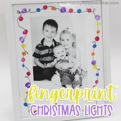 Give this sweet keepsake Fingerprint Christmas Lights craft to friends and family this year! Kids of all ages will enjoy making this Christmas fingerp Fun Crafts To Do, Winter Crafts For Kids, Kids Crafts, Drawing Activities, Craft Activities For Kids, Activity Ideas, Simple Christmas, Christmas Lights, Christmas Ideas