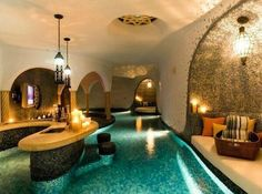 Lazy river pool throughout the house.