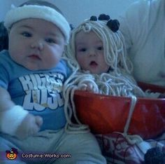 From pinner...so cute!     Bowl of Spaghetti and Biggest Loser - 2013 Halloween Costume Contest