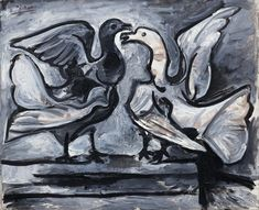 "guggenheim-art: "" Two Doves with Wings Spread by Pablo Picasso, 1960, Guggenheim Museum Size: 59.7x73 cm Medium: Oil on linen Solomon R. Guggenheim Museum, New York Thannhauser Collection, Gift,..."