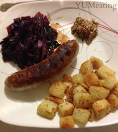 Bratwurst with Sweet and Sour Red Cabbage & Crispy Potatoes