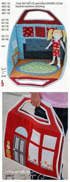 ARTE COM QUIANE - Paps,Moldes,E.V.A,Feltro,Costuras,Fofuchas 3D: Tecido bolsa casinha de boneca
