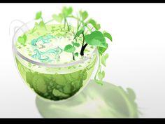 カップの中の植物と初音ミクの綺麗なイラスト壁紙画像