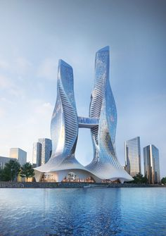 Conceptual design for two towers with commercial podium located in bahrain Architecture Concept Drawings, Unique Architecture, Futuristic Architecture, Tower Building, Building Design, Amazing Buildings, Modern Buildings, Future Buildings, Futuristic City