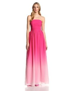 ERIN erin fetherston Womens Isabelle Ombre Chiffon Strapless Evening Gown Vibrant Fuchsia 4 ** Find out more about the great product at the image link. (This is an affiliate link)