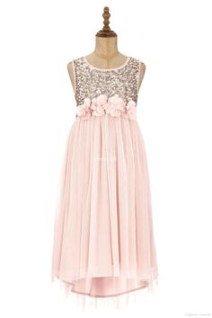 The baby girls dresses which match the flowers- 2015 blush flower girls dresses gold sequins hand made flower sash tea length tulle jewel a line kids formal dress junior bridesmaid dress is offered in sweet-life and on DHgate.com bridal shoes uk along with cute dresses for girls are on sale, too.