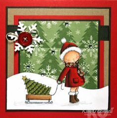 Stamps: MFT Pure Innocence Sending You a Little Christmas Paper: PTI white, MFT red hot, kraft, and hot fudge CS, Echo Park Very Merry Christmas 6x6 paper pad Ink: Momento tuxedo black Accessories: MFT Die-Namics Blueprints 1 and Let is Snowflake, Stickles, glitter, button, hemp cord, and white gel pen