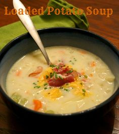 Loaded Potato Soup, made with salt pork and my homegrown red potatoes!