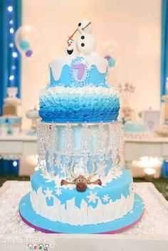 Amazing cake at a Frozen girl Birthday Party! See more party ideas at CatchMyParty.com!