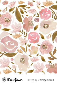 Home decor, wallpaper and fabrics made just for you at Spoonflower. Shop your favorite indie designs on fabric, wallpaper and home decor products, all printed with eco-friendly inks and handmade in the United States. #watercolor #floral #earthtones #blush #textiledesign Flower Patterns, Print Patterns, Stoff Design, Digital Print, Spoonflower, Watercolor Rose, Blush Roses, Surface Pattern Design, Bunt