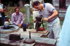 Matthew Mosca demonstrating a paint mill at Eastfield Village NY, with Don Carpentier watching. I taught a course on early 19th century paint here with them in the 1990s. For a film clip of this fascinating place see - http://www.marthastewart.com/915901/don-carpentiers-eastfield-village